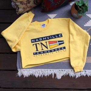 Vintage Nashville Cropped Oversize Sweater